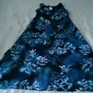 All That Jazz Chorus Line dress womens size 9-10 Blue Floral full length