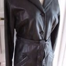 Wilsons Black Leather Insulated Belted Tie Blazer Jacket Trench Coat womens S