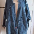 80s 90s VTG Tamik Collarless Graffiti Denim Blue Jean Jacket Barn Coat Womens L