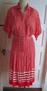 Vintage Liz Claiborne Dresses Womens 4 Mid Century Mod Striped Rayon Shirt Dress