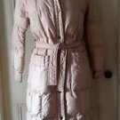 Vintage White Stag Outerwear Long Down Belted Quilted Puffer Parka Coat Womens M