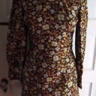 Vintage Paramount Enterprises Hand Made Floral Turtleneck Dress Womens S Mod 70s