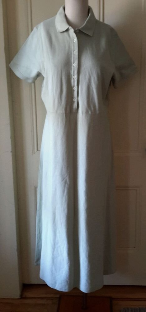 NWT LL Bean Double L Polo Short Sleeve Long Shirt Maxi dress sz M Mint Fig OBV20