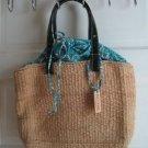 Polo Jeans Company Ralph Lauren Rattan Straw Bandanna Drawstring Beach Handbag
