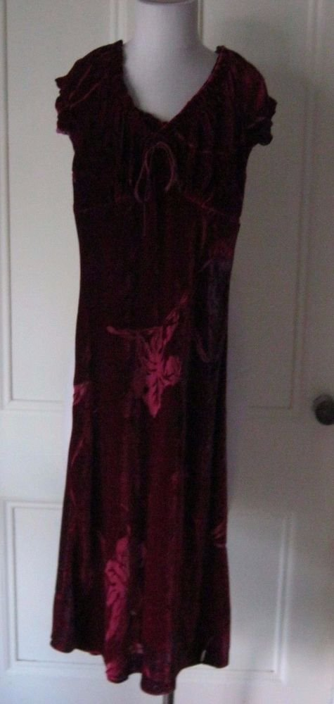 Betsey Johnson New York Petites Velvet Cut out Leaves Dress Womens P Cranberry