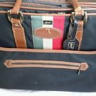 Vintage Lark Black Luggage Expandable Suitcase Bag Padlocks 18.5 x 12 x 9