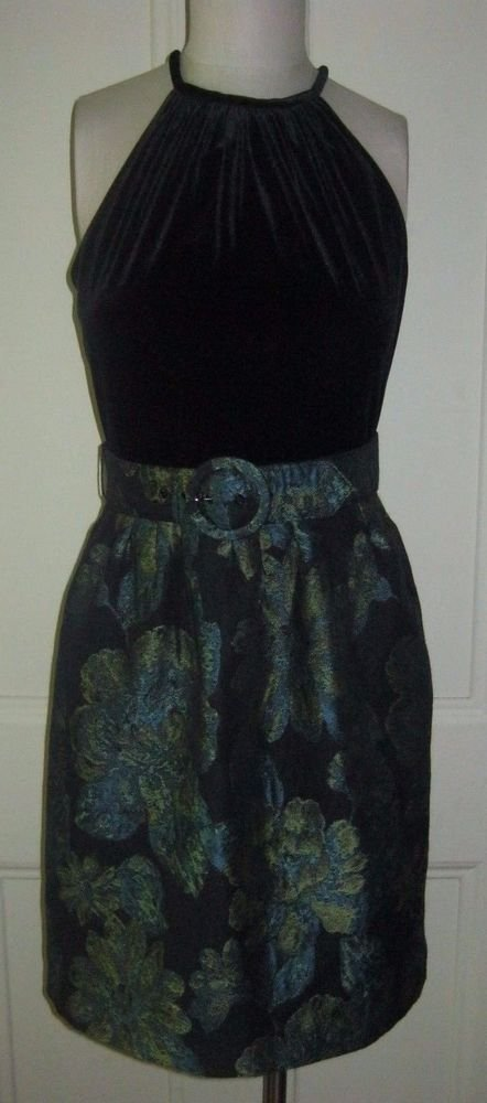 Madison Dress Velvet Halter Top Brocade Tapestry Belted Skirt Womens size 8