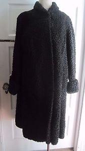 60s Munson's Furs Maine Swakara Broadtail Curly Persian Lamb Fur Wool Swing Coat