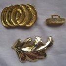 "VINTAGE Lot 2 Douglas Paquette Gold Metal Leaf Abstract Belt Buckles 4"" Long"