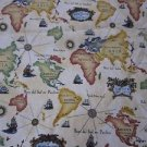 Old World Map Continents Tall Ships Print Woven Upholstery Fabric Quilting 7 yds