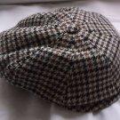 Vintage Mens Willoughby Paris Wool Tweed Houndstooth Newsboy Cabbie Cap Hat 57