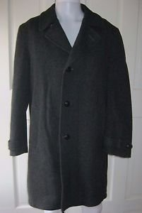 Mens Vintage Adams Row Richman Braided 100% Wool Top Dress Overcoat Coat 40L USA