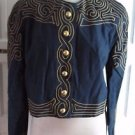 Vtg Womens Marie St. Claire Collarless Embroidered Band Jacket Linen Cotton 12