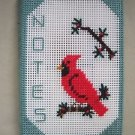 Handmade Plastic Canvas Mat Notes Notebook Cardinal Red Bird Needlework Crochet