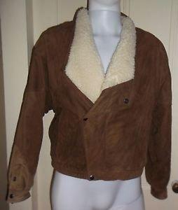 Vintage Mens Overkirk Collarless Shearling Trim Side Zip Leather Bomber Jacket S