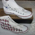 Converse All Star Chuck Taylor Customized Strawberry Hi Tops Womens 9 Red Blue