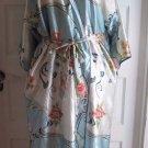 Vintage Oscar De La Renta Pink Label Satin Kimono Robe Womens One Size Floral