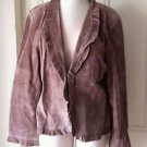 Bushwacker Pig Suede Leather Ruffled Collar Trim Jacket womens size medium