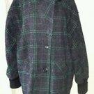 80's Jonathan Stevens Windowpane Plaid tweed Jacket Coat Womens sz 14 Knit Cuffs