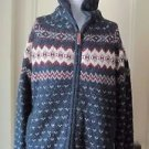 Fat Face Hooded Wool Knit Fair Isle Nordic Full Zip Up SWEATER Jacket Mens M