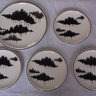 Lot of 5 pieces Mikasa Forecast Forest Shadows Black Trees Dinner Salad Plates