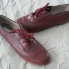Vintage Sperry Topsiders Lace up tie red Leather Shoes Womens size 7.5 Jr. Miss
