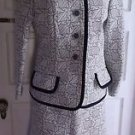 Vintage Womens M Saks 5th Avenue Quilted Jacket Skirt Suit Set w/ Piping Mod