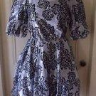 Vintage 60s Square Dance Dress Co Floral Metallic Flounce Swing Rockabilly 10