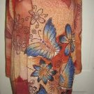 PE Putri Eva Long Maxi Kaftan Ethnic Dress Butterfly Print Womens size M L Artsy