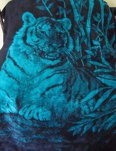 Bengal Tiger San Marcos of Mexico Vintage Plush Fur Reversible Blanket sz 88x67