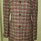 AK Anne Klein Wool Blend Pink Plaid Tweed Long Over Dress Top Coat Womens 6