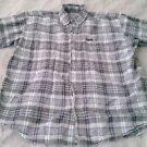 Woolrich 100% cotton Mens Button-up Short Sleeve Shirt Large plaid board