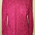 Vtg 50's Caledonia Knit Ribbon Textured Skirt Top Jacket Suit Set Medium Red