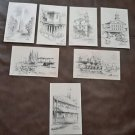1946 Jas F Murray Pencil Drawings Postcards Boston Landmarks Signed Unused set 7