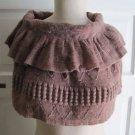 Vivante by VSA Knit Crochet Capelet Scarf Circle Shawl Old Rose Womens Elastic