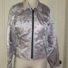 Motorgirl Motorcare Moto Motorcycle Motorcade Cropped Jacket Womens S USA Silver