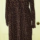 Vintage LL Bean Petites Floral Corduroy Prairie Modest Long Maxi Dress Womens 8P