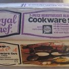 NOS VTG Royal Chef 7 Piece Pots Pans Heavyweight Aluminum Cookware Set Teflon II