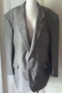 Vintage Rafael Houndstooth Rome NY Wool Suit SportCoat Jacket Blazer Mens 50R