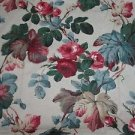 Vintage P. Kaufmann Fabrics Jacobean Floral Screen Printed 2 + Yards 3 Pieces