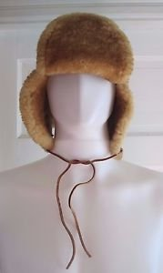 Vintage Mens L LL Bean Mouton Shearling Sherpa Leather Trapper Aviator Flap Hat