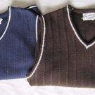 Lot 2 Vintage 50s Mens Coordinate Virgin Acrylic Knit Sweater Vest XL Rockabilly