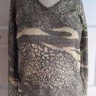 NWT Womens Pierri New York Lightweight Knit Sweater Gold Metallic Animal Print