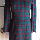 Vintage Talbots Depeche Woven Tartan Scotch Plaid Knit Sweater Dress Womens XS