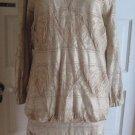 Womens Damianou Petite Shimmery Gold Metallic Crochet Fringe Flapper Dress P USA