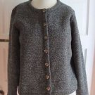 Womens LL Bean Mottled Flecked Black Fleece Collarless Cropped Blazer Jacket S