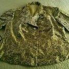 Womens Miss Hong asian oriental Silk Feel blazer Jacket size Medium Gold/black