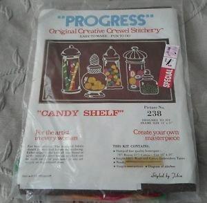 Vintage NOS PROGRESS Creative Crewel Stitchery Candy Shelf 238 Kitsch EMBROIDERY