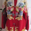 Vintage Womens Cullinane Hand Knit Tapestry Look Victorian Floral Sweater sz M