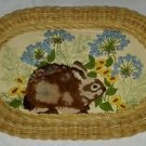 Vintage Wicker Framed Crewel Needlepoint Rabbit Hare Bunny Flowers Rug 3D 19x12